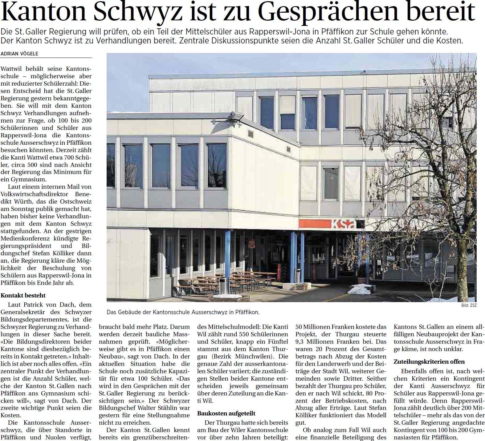Kanton Schwyz ist zu Gesprächen bereit (Freitag, 09.05.2014)