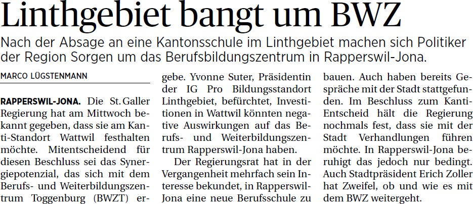 Linthgebiet bangt um BWZ (Samstag, 10.05.2014)