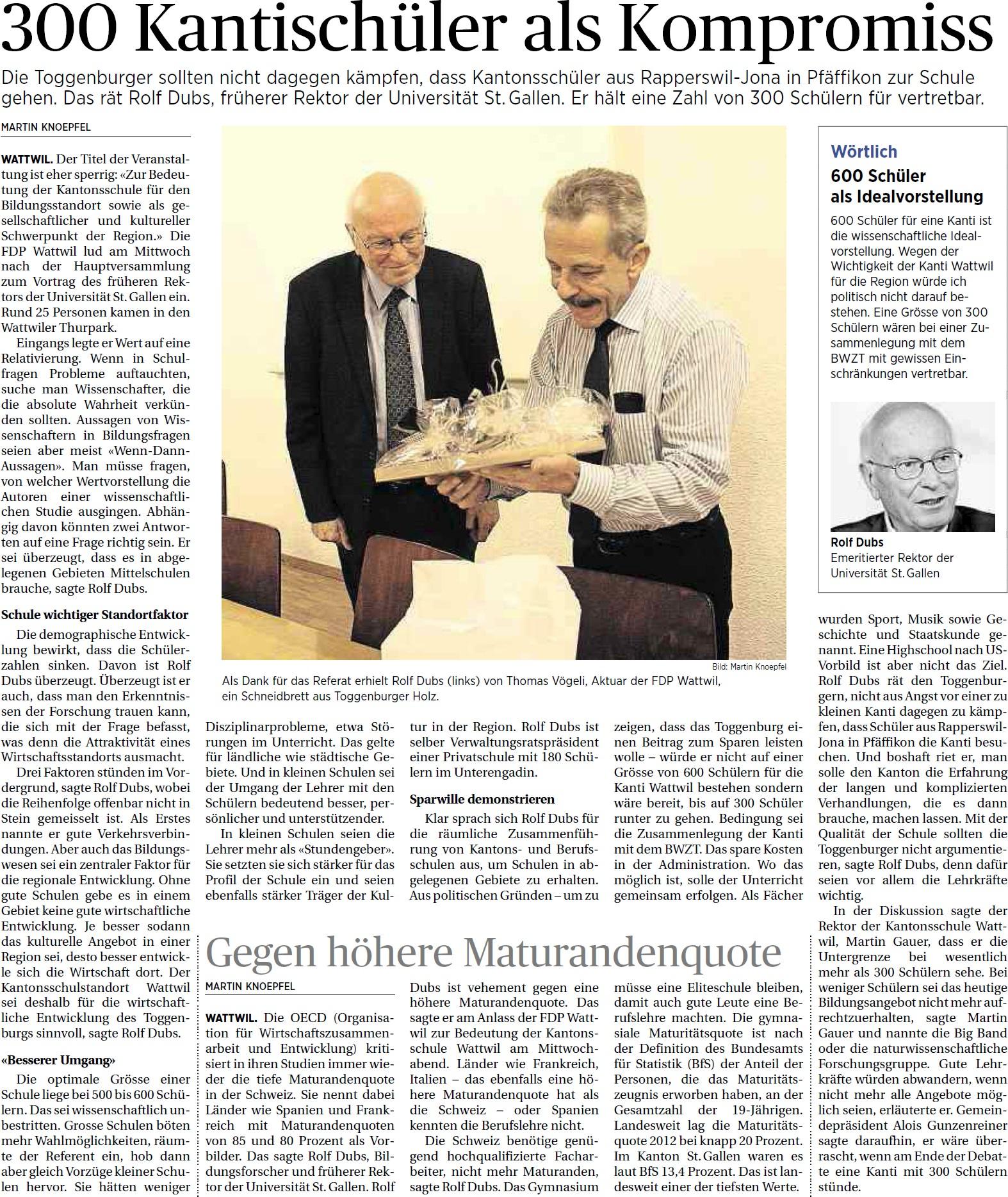 300 Kantischüler als Kompromiss (Freitag, 16.05.2014)