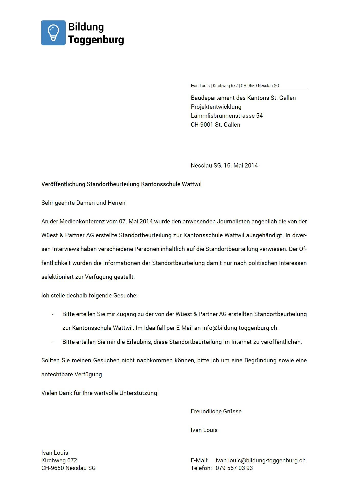 Veröffentlichung der Standortbeurteilung (Freitag, 16.05.2014)