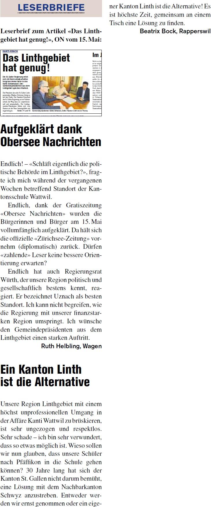 Das Linthgebiet hat genug! - Leserbriefe (Donnerstag, 22.05.2014)