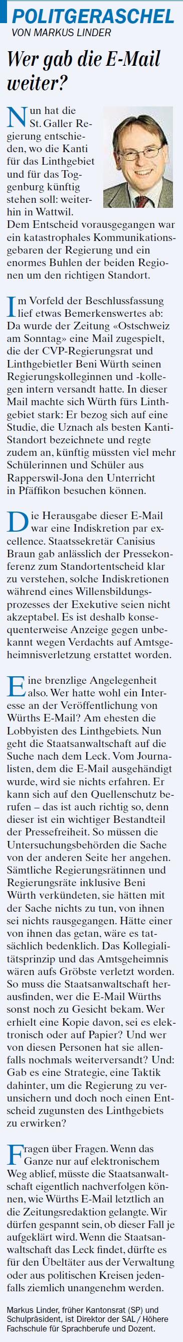 Politgeraschel: Wer gab die E-Mail weiter? (Samstag, 24.05.2014)