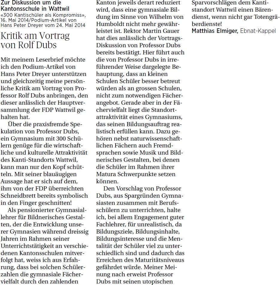 Kritik am Vortrag von Rolf Dubs (Samstag, 31.05.2014)