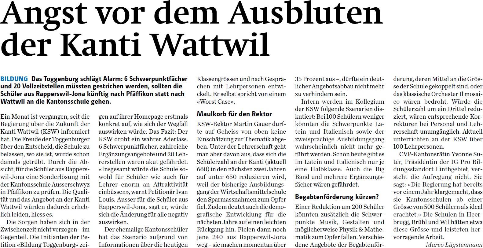 Angst vor dem Ausbluten der Kanti Wattwil (Dienstag, 03.06.2014)