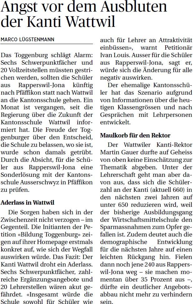 Angst vor dem Ausbluten der Kanti Wattwil (Mittwoch, 04.06.2014)