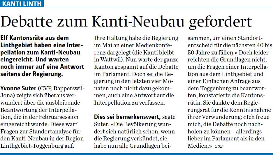 Debatte zum Kanti-Neubau gefordert (Mittwoch, 04.06.2014)
