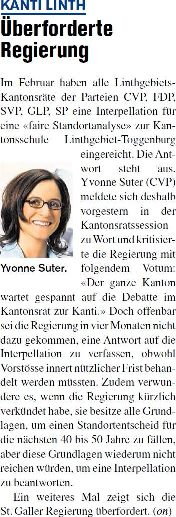 Kanti Linth: Überforderte Regierung (Donnerstag, 05.06.2014)