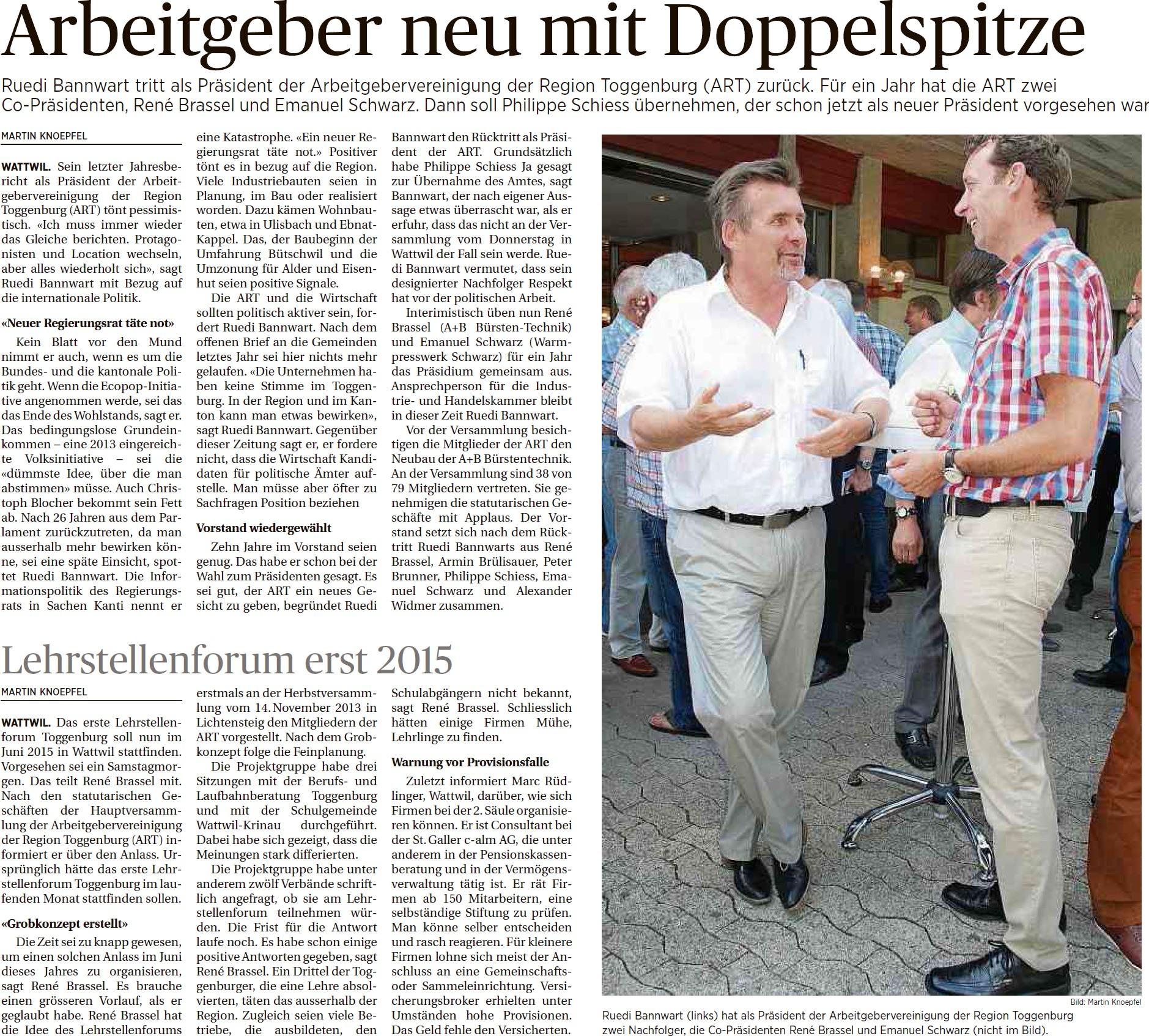 Arbeitgeber neu mit Doppelspitze (Samstag, 14.06.2014)