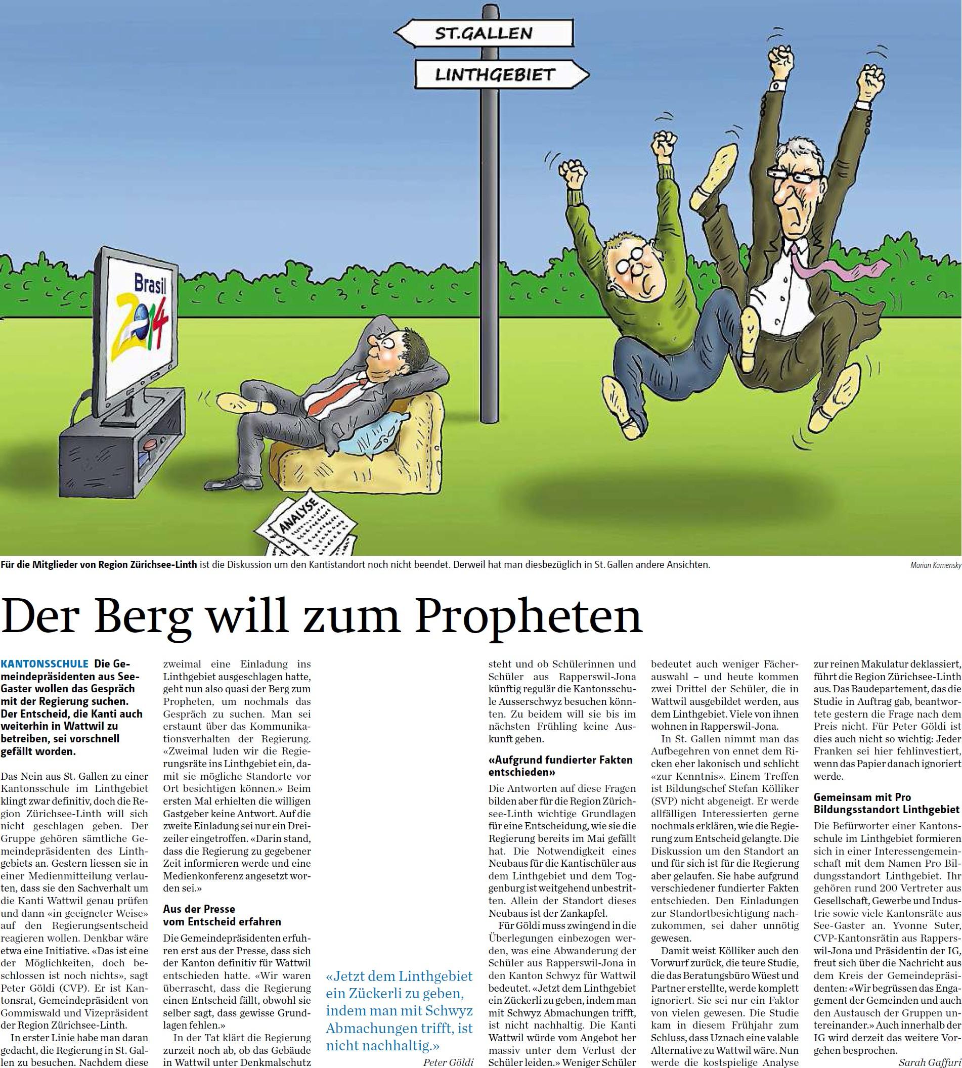 Der Berg will zum Propheten (Samstag, 14.06.2014)