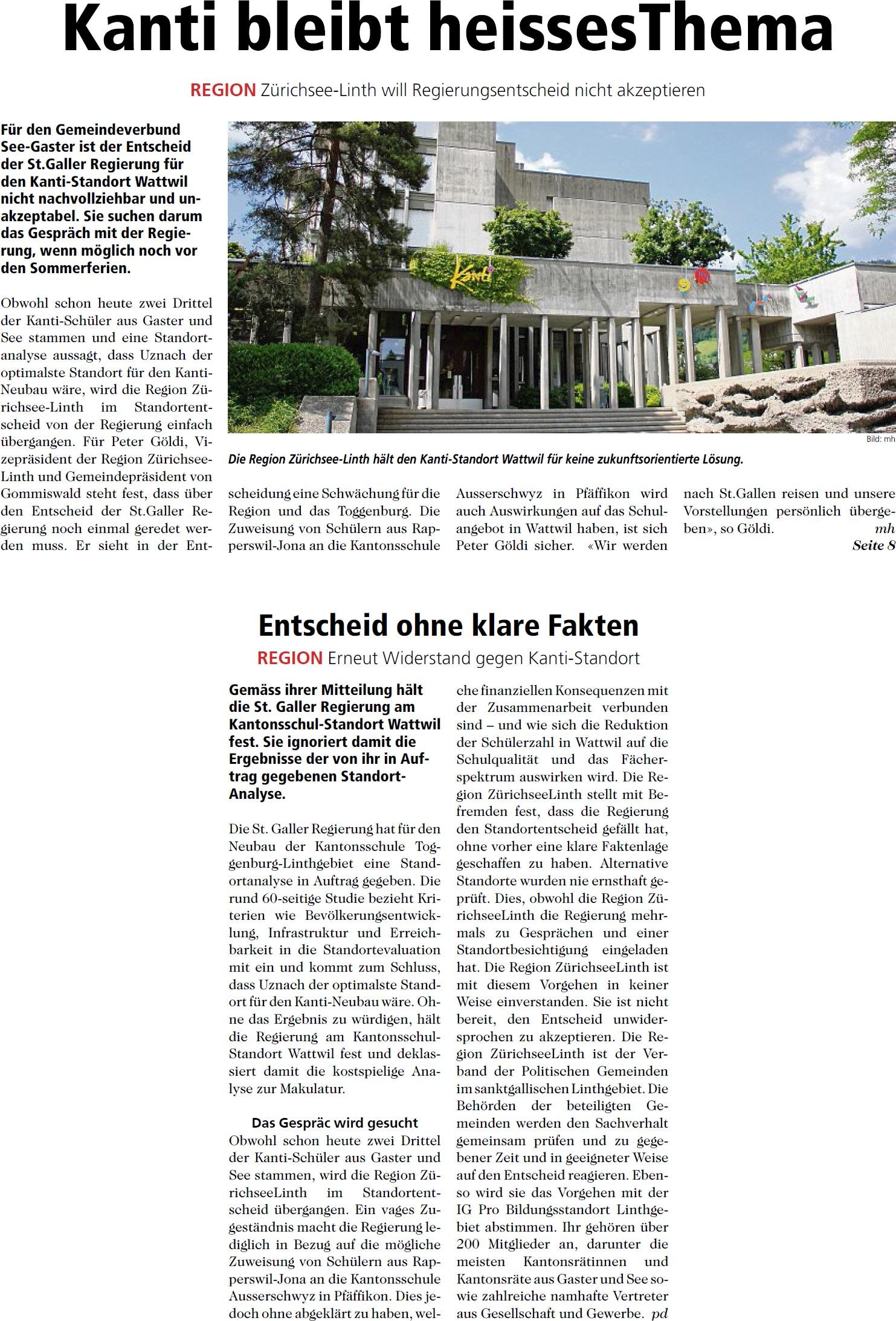 Kanti bleibt heisses Thema (Mittwoch, 18.06.2014)