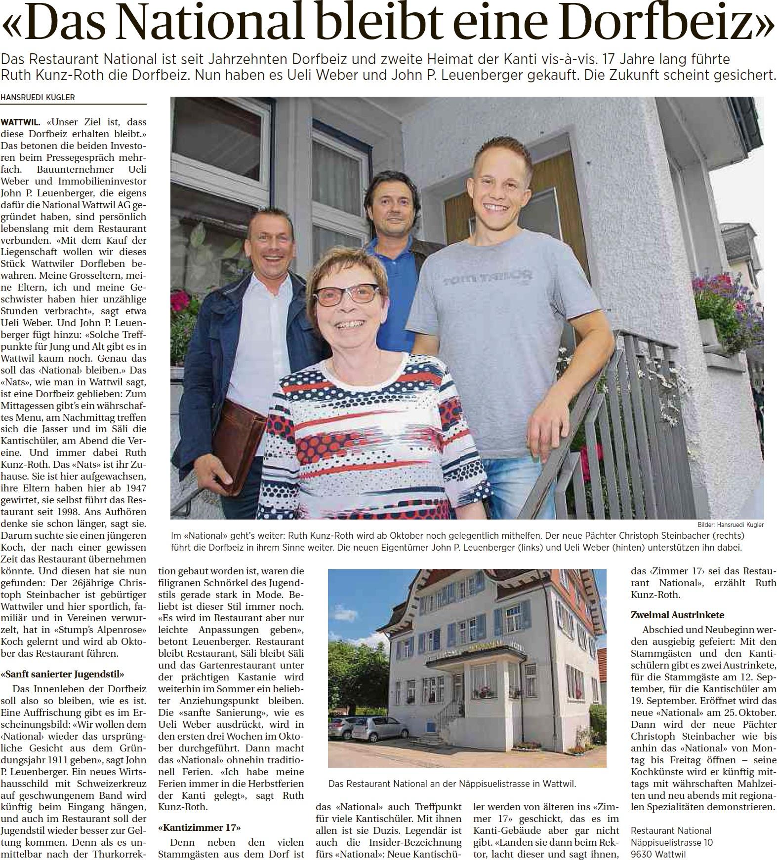 «Das National bleibt eine Dorfbeiz» (Freitag, 04.07.2014)