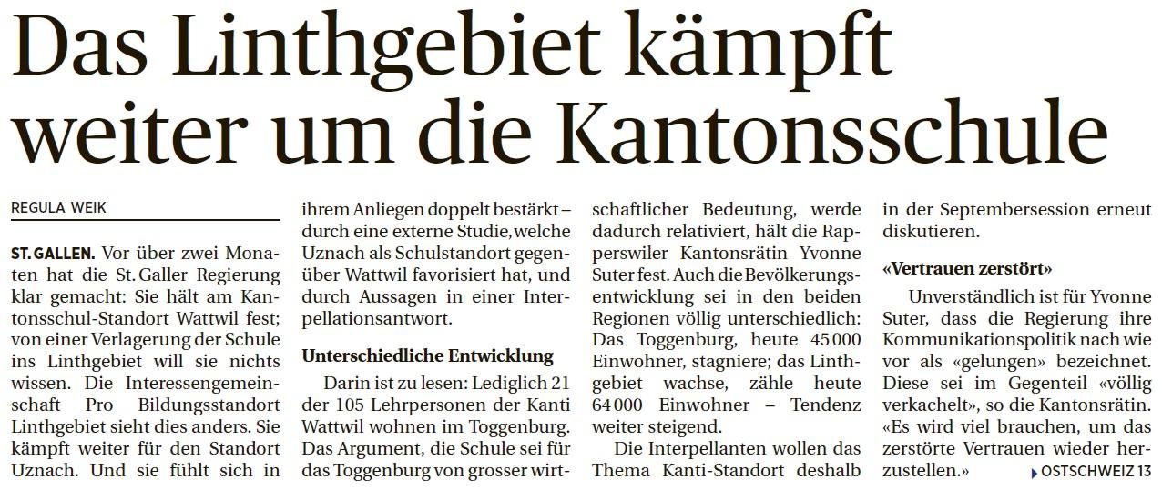 Das Linthgebiet kämpft weiter um die Kantonsschule (Dienstag, 22.07.2014)