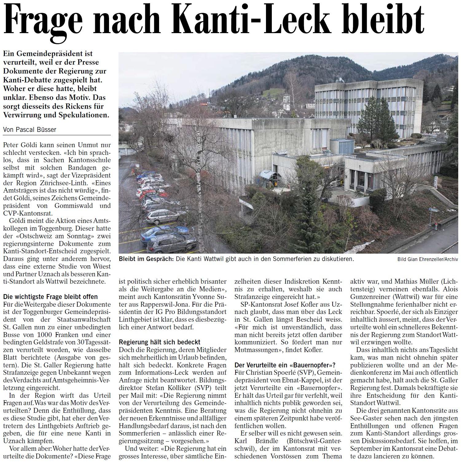 Frage nach Kanti-Leck bleibt (Dienstag, 22.07.2014)