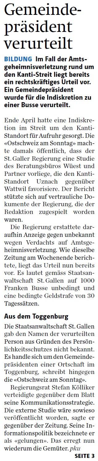 Gemeindepräsident verurteilt (Dienstag, 22.07.2014)