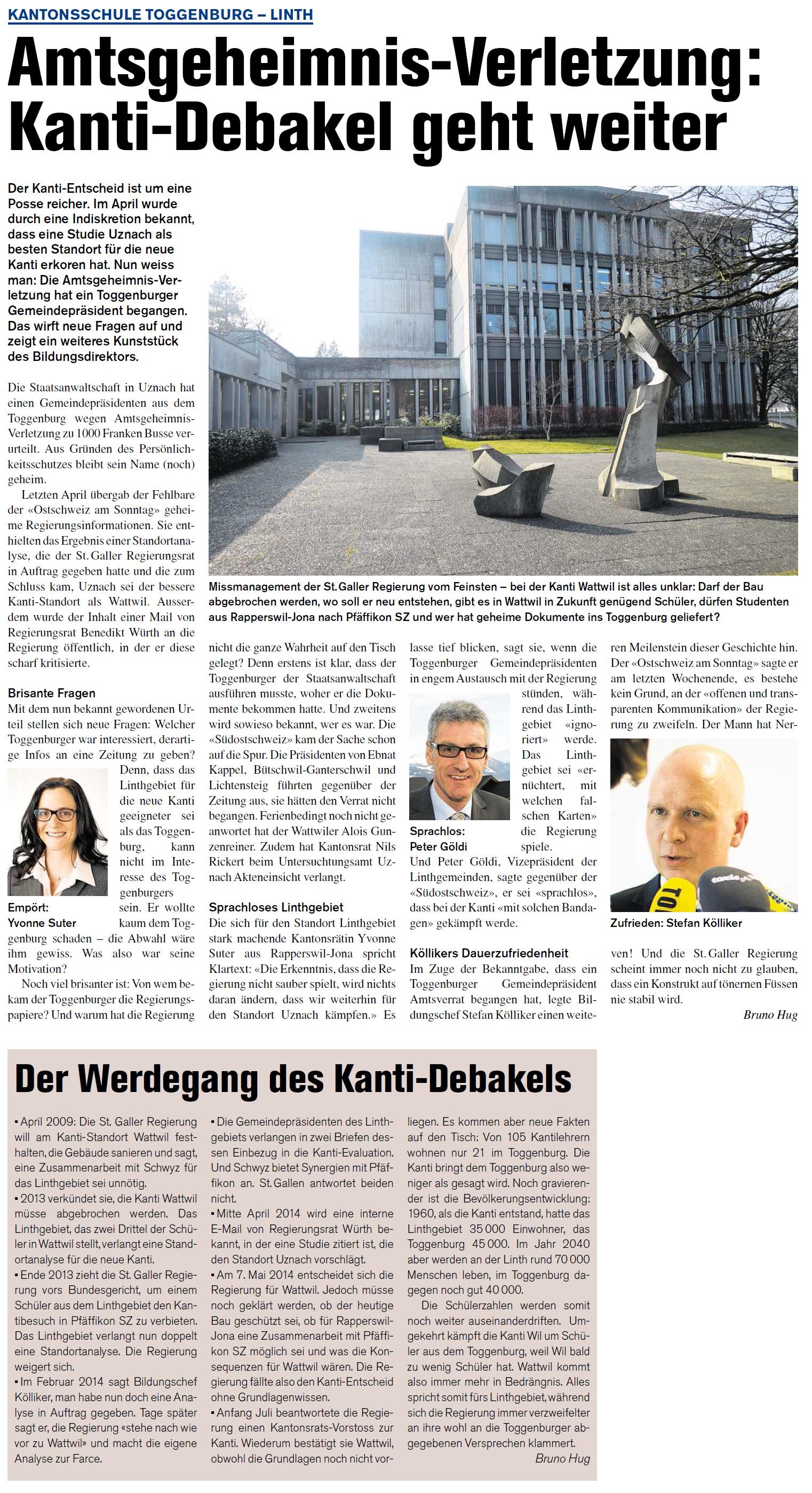 Amtsgeheimnis-Verletzung: Kanti-Debakel geht weiter (Donnerstag, 24.07.2014)