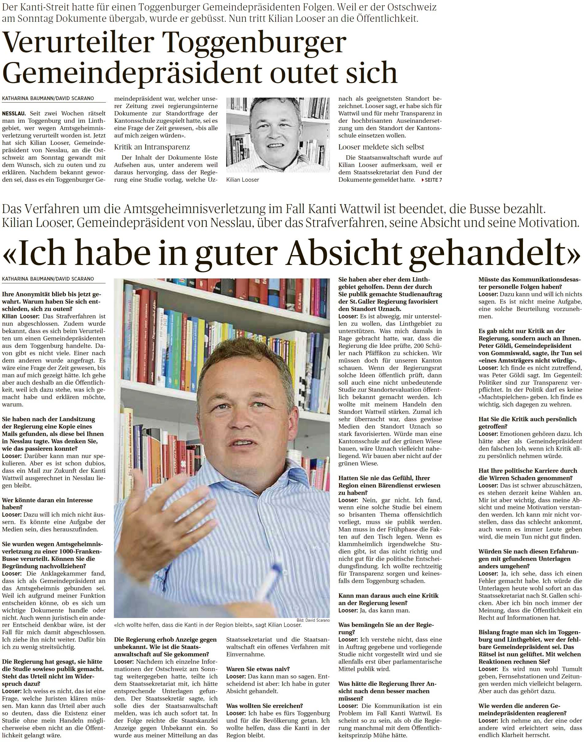 Verurteilter Toggenburger Gemeindepräsident outet sich (Sonntag, 03.08.2014)