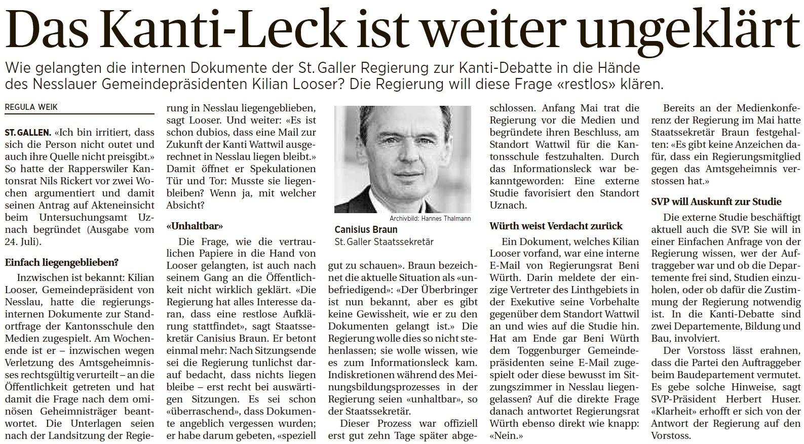 Das Kanti-Leck ist weiter ungeklärt (Mittwoch, 06.08.2014)