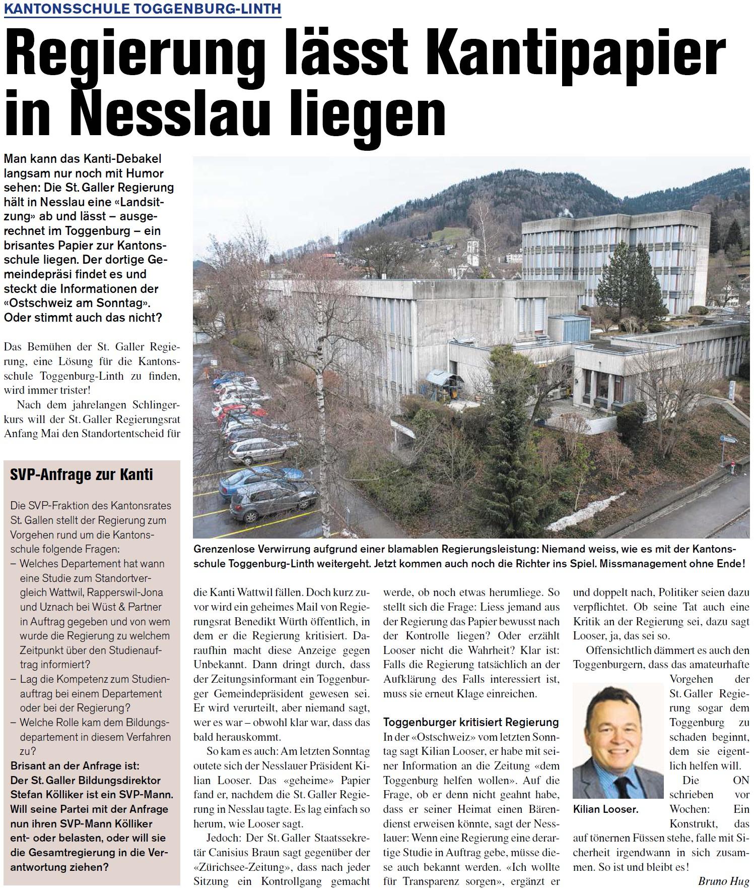 Regierung lässt Kantipapier in Nesslau liegen (Donnerstag, 07.08.2014)
