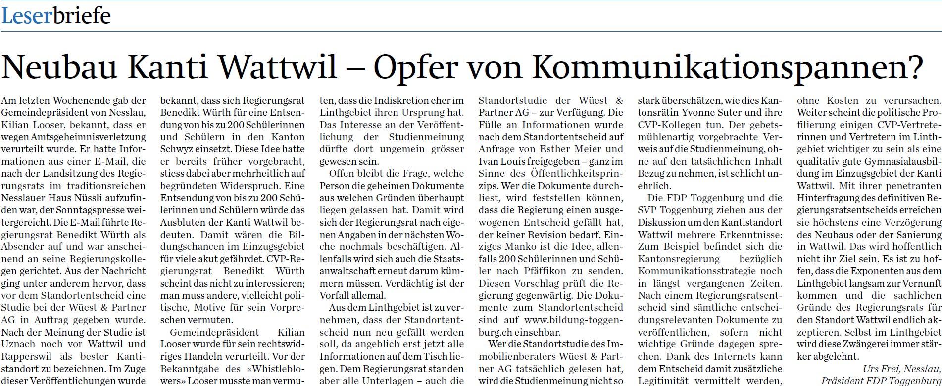 Neubau Kanti Wattwil - Opfer von Kommunikationspannen? (Donnerstag, 07.08.2014)