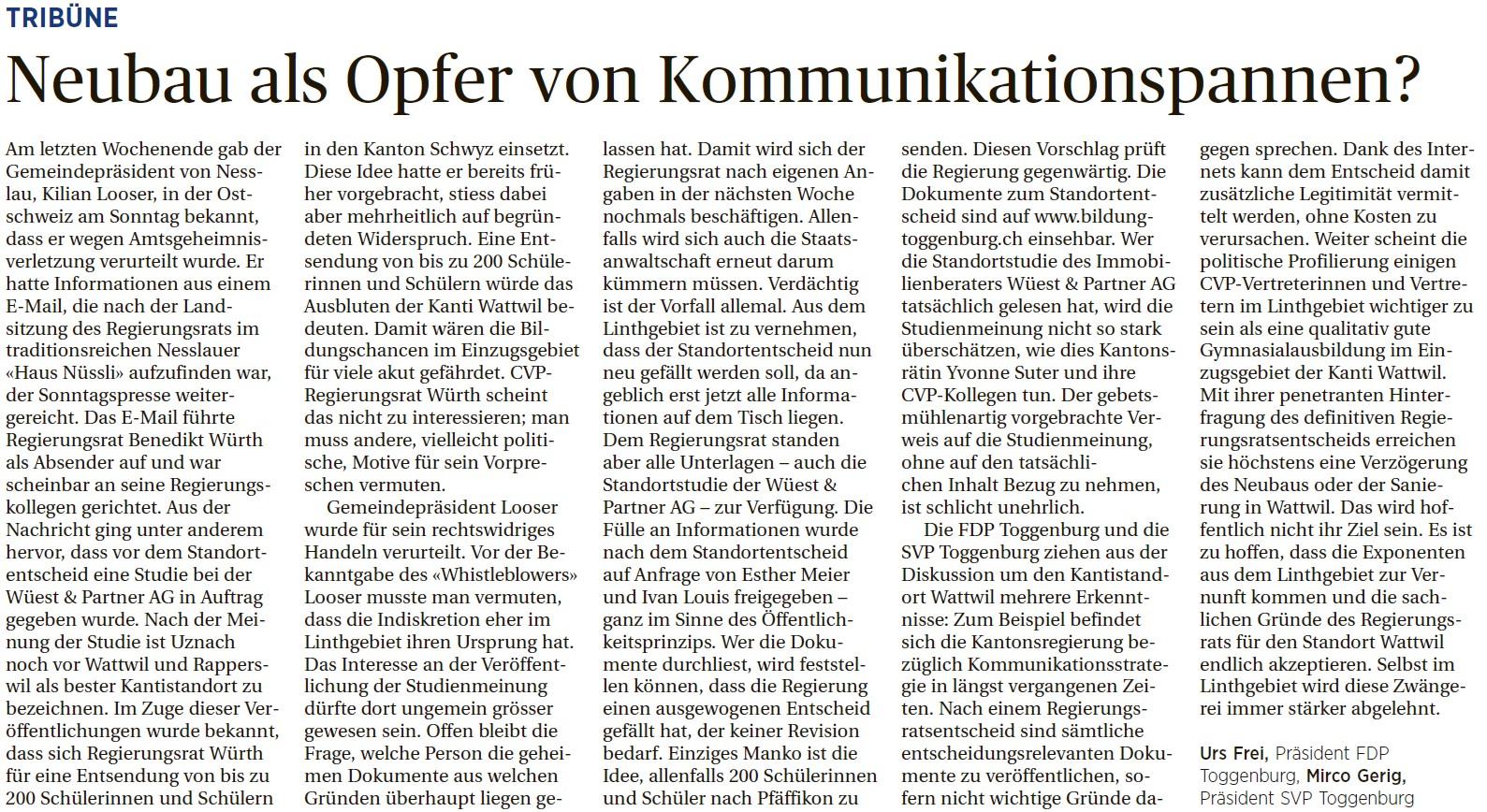 Neubau der Kanti Wattwil als Opfer von Kommunikationspannen? (Freitag, 08.08.2014)