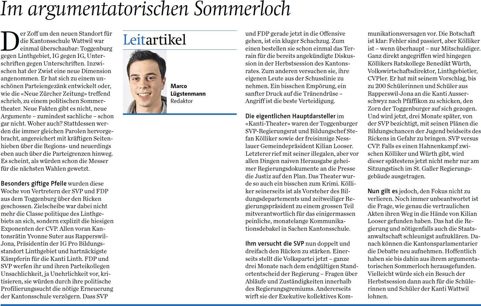 Im argumentatorischen Sommerloch (Samstag, 09.08.2014)