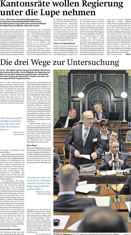 Kantonsräte wollen Regierung unter die Lupe nehmen (Donnerstag, 14.08.2014)