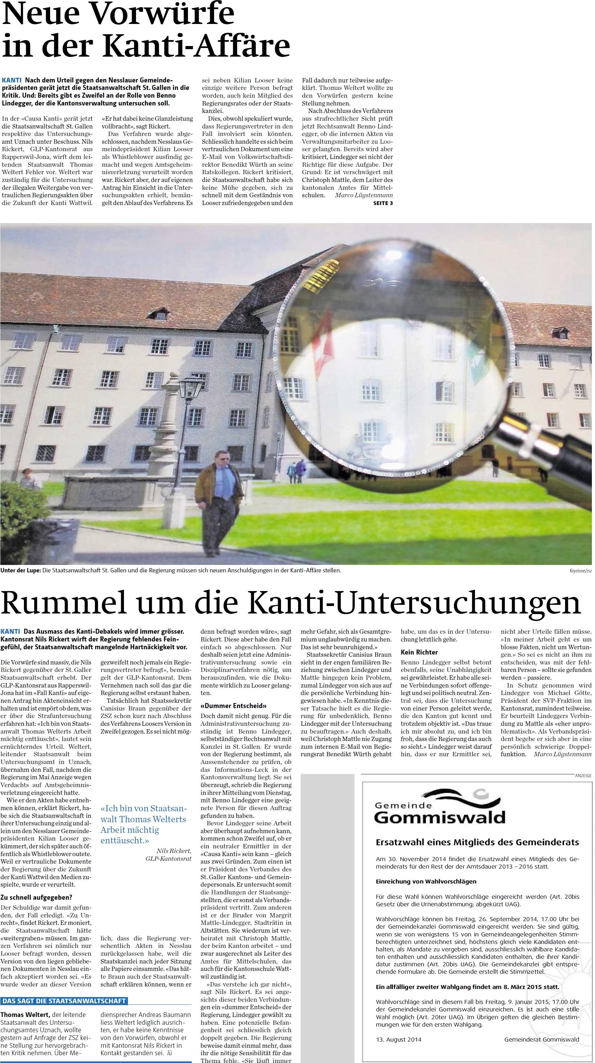 Neue Vorwürfe in der Kanti-Affäre (Samstag, 16.08.2014)