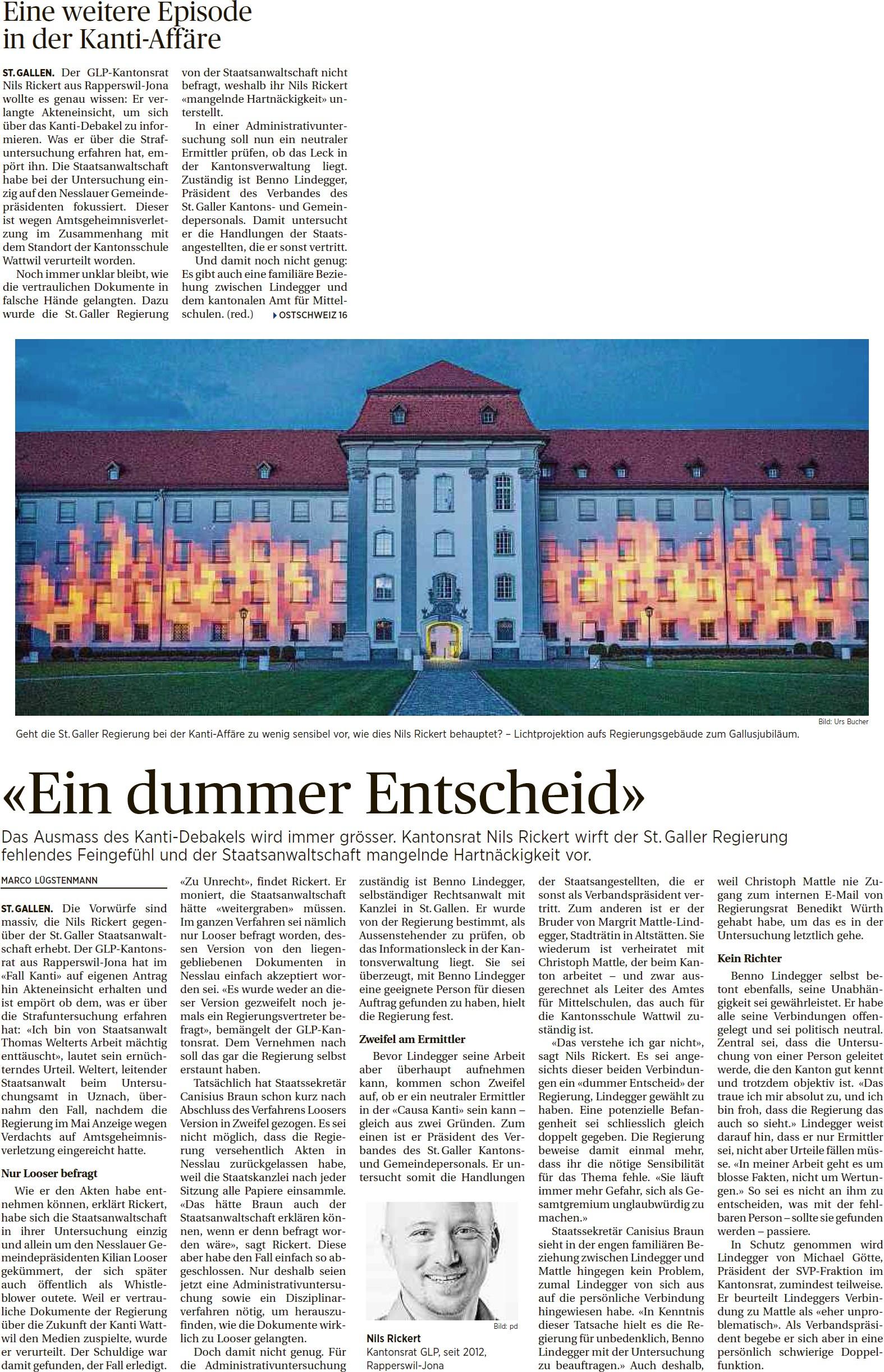 «Ein dummer Entscheid» (Montag, 18.08.2014)
