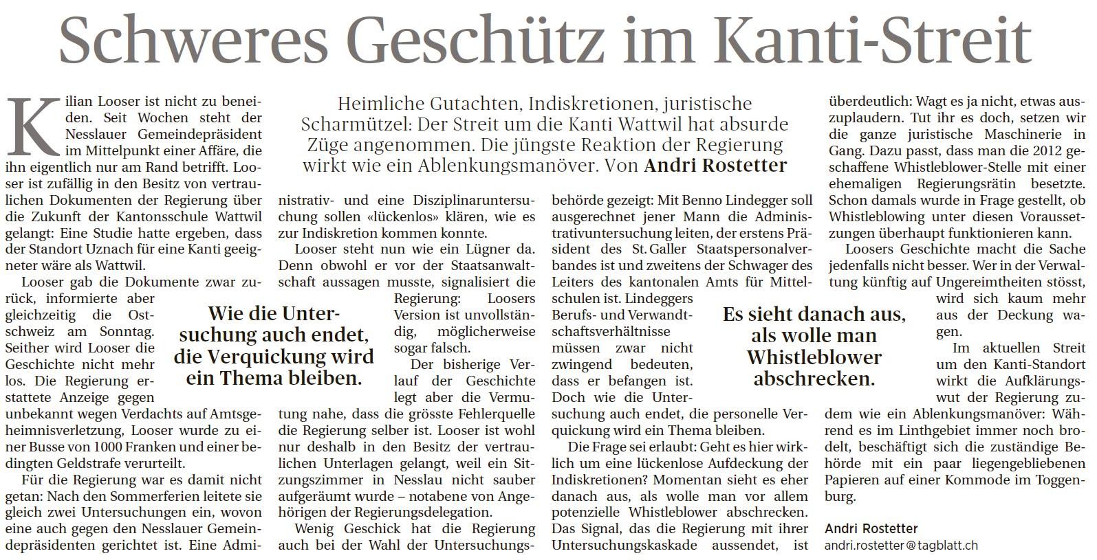 Schweres Geschütz im Kanti-Streit (Montag, 08.09.2014)