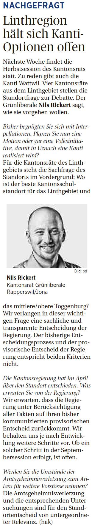 Linthgebiet hält sich Kanti-Optionen offen (Mittwoch, 10.09.2014)
