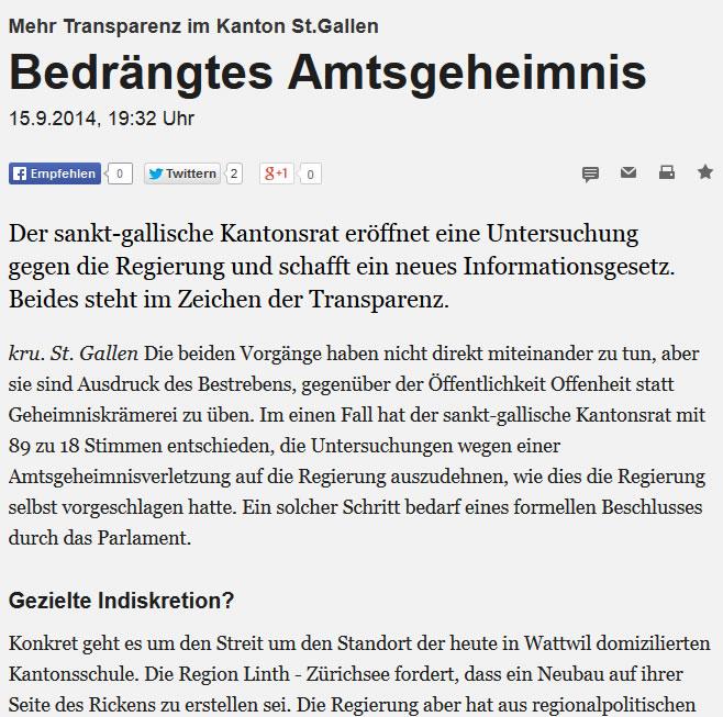 Bedrängtes Amtsgeheimnis (Montag, 15.09.2014)