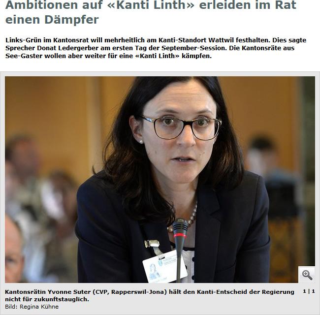 Ambitionen auf «Kanti Linth» erleiden im Rat einen Dämpfer (Dienstag, 16.09.2014)