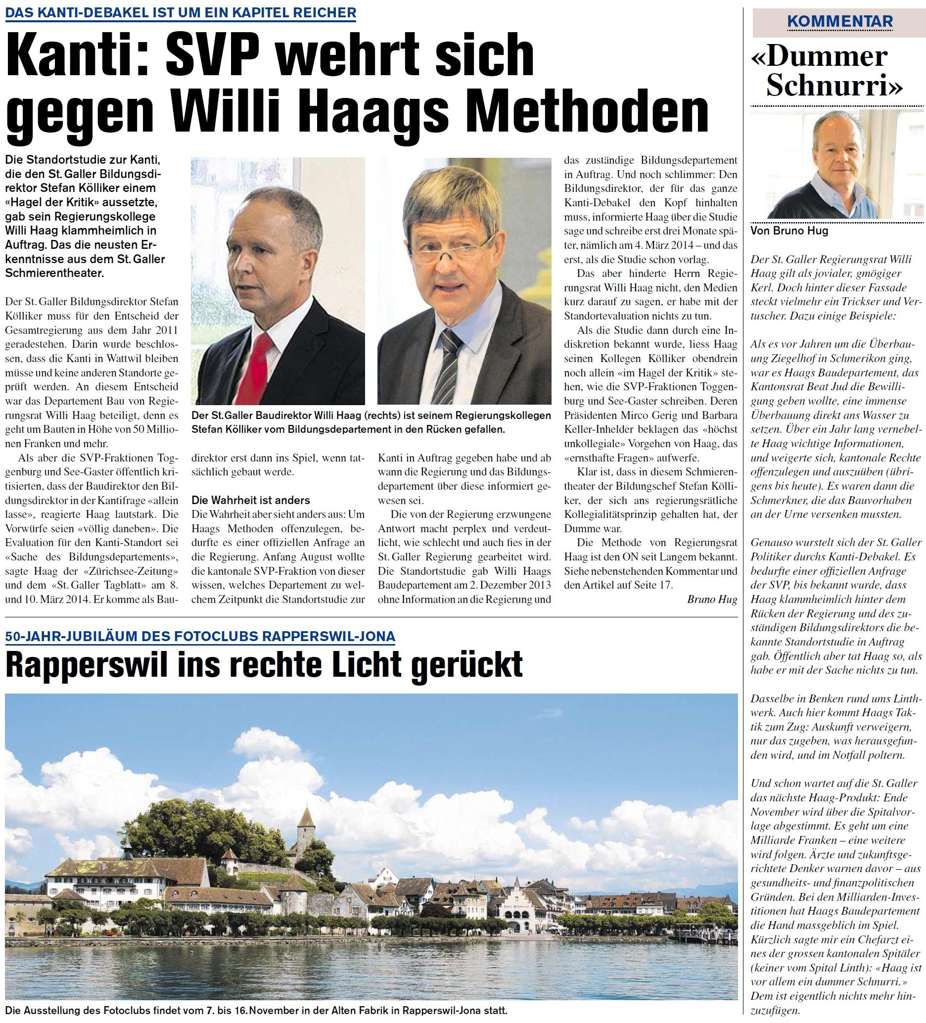 Kanti: SVP wehrt sich gegen Willi Haags Methoden (Donnerstag, 18.09.2014)