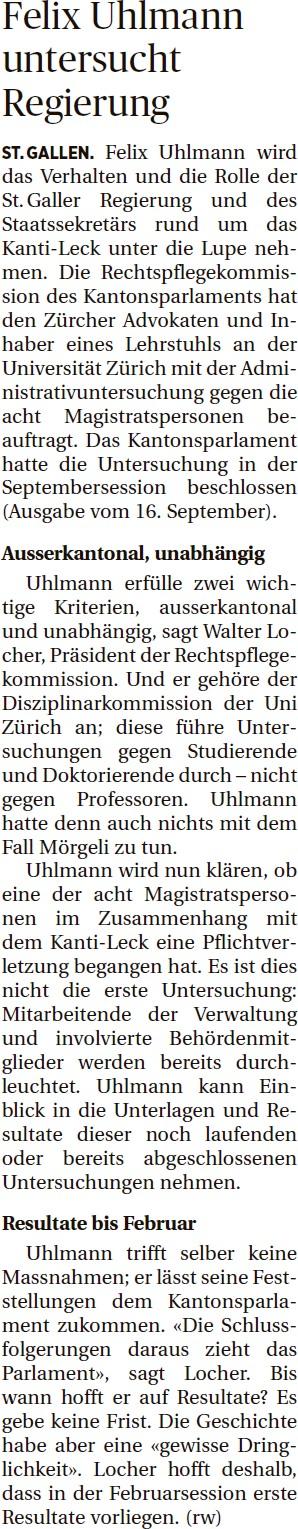 Felix Uhlmann untersucht Regierung (Dienstag, 30.09.2014)