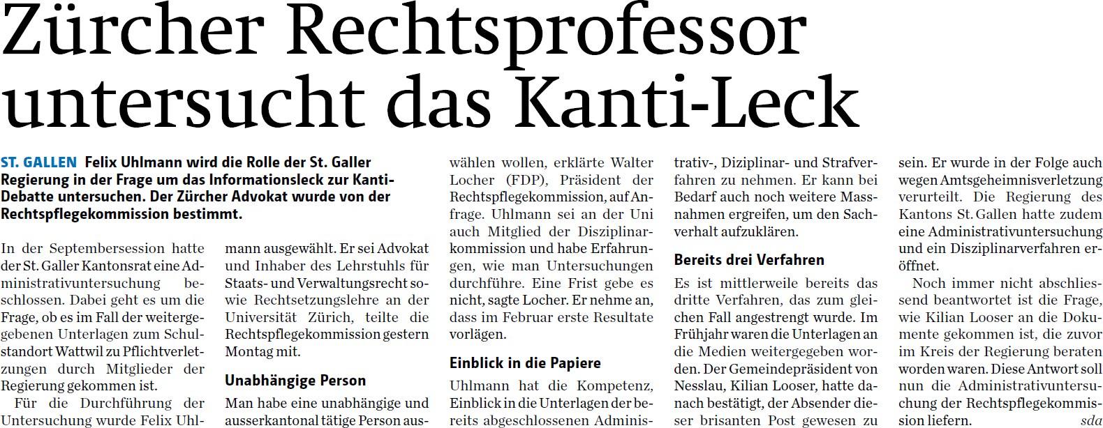 Zürcher Rechtsprofessor untersucht das Kanti-Leck (Dienstag, 30.09.2014)