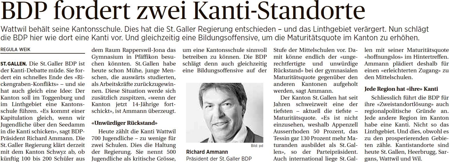 BDP fordert zwei Kanti-Standorte (Mittwoch, 01.10.2014)