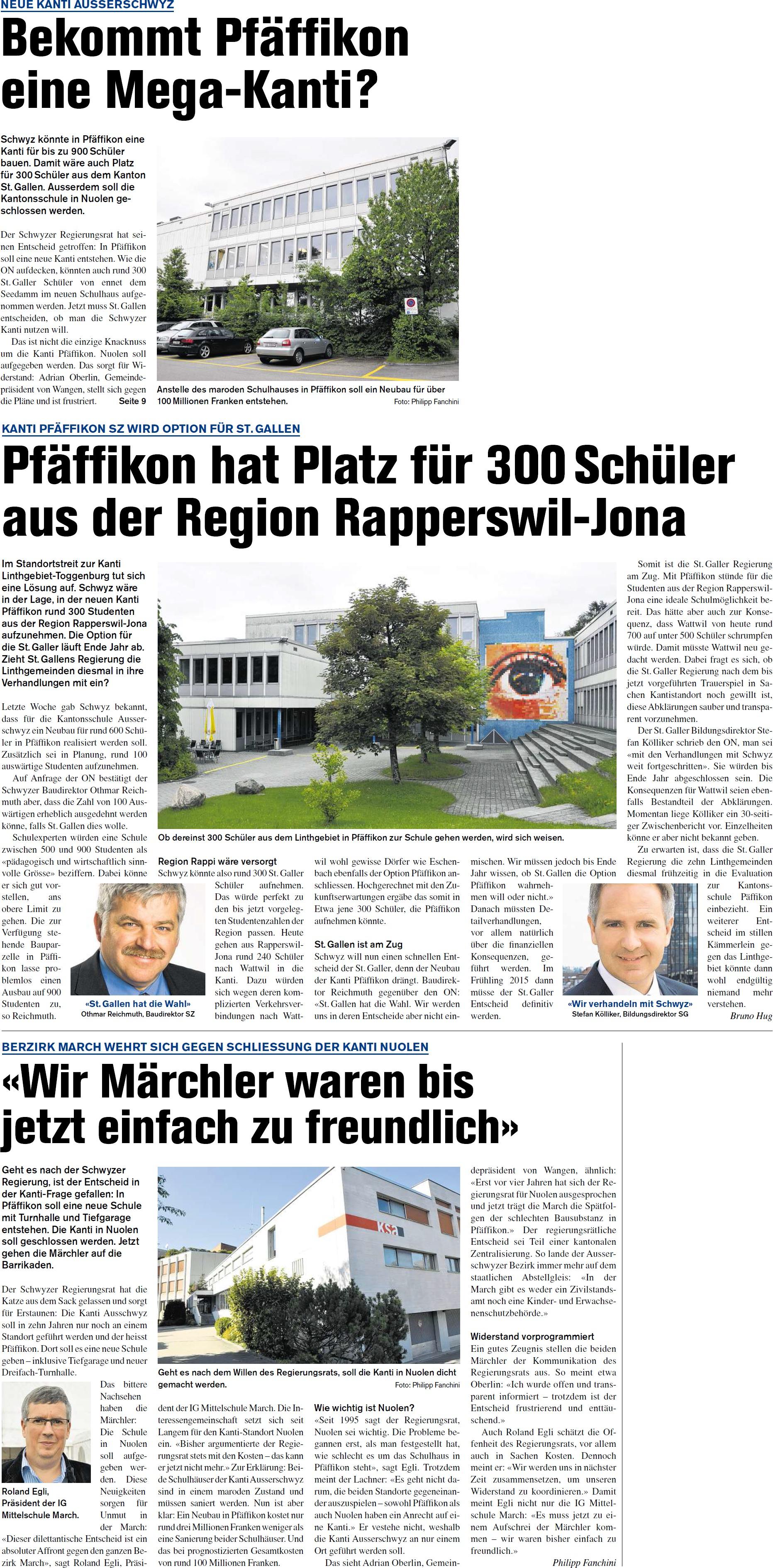 Pfäffikon hat Platz für 300 Schüler aus der Region Rapperswil-Jona (Donnerstag, 02.10.2014)