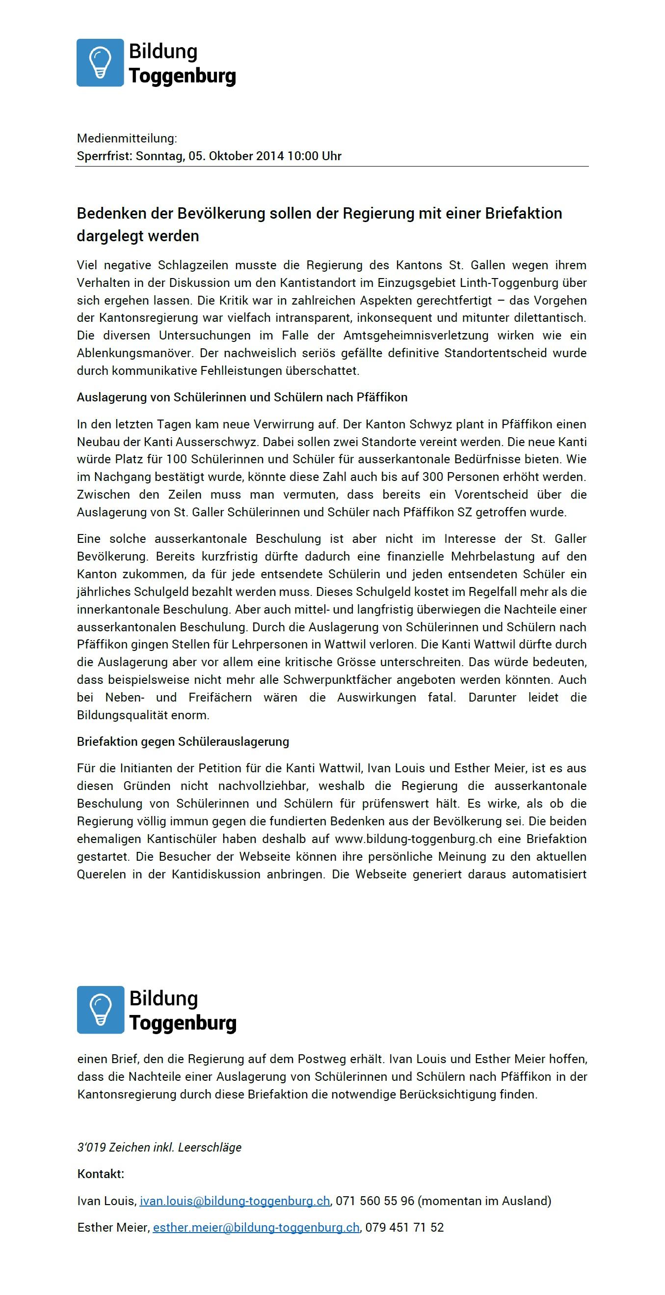 Medienmitteilung: Bedenken der Bevölkerung sollen der Regierung mit einer Briefaktion dargelegt werden (Sonntag, 05.10.2014)