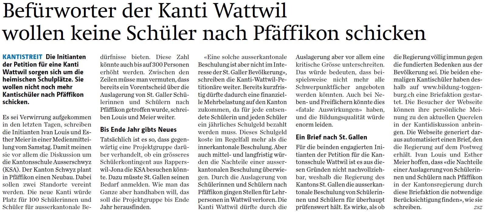 Befürworter der Kanti Wattwil wollen keine Schüler nach Pfäffikon schicken (Montag, 06.10.2014)