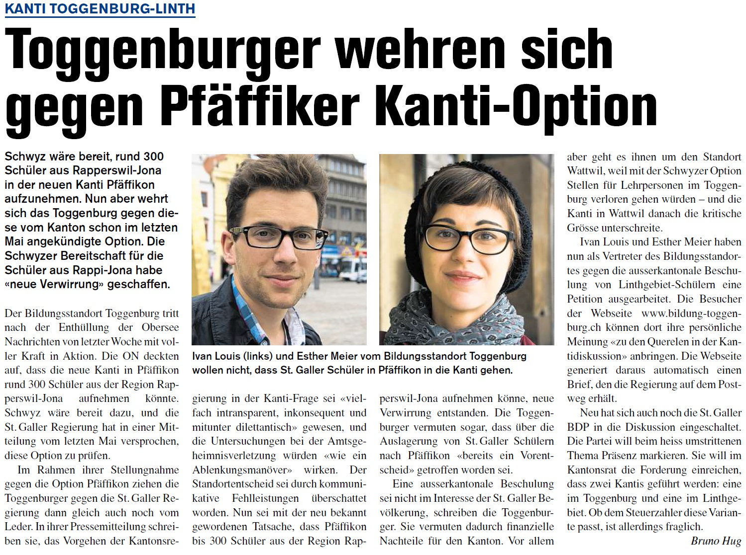 Toggenburger wehren sich gegen Pfäffiker Kanti-Option (Donnerstag, 09.10.2014)