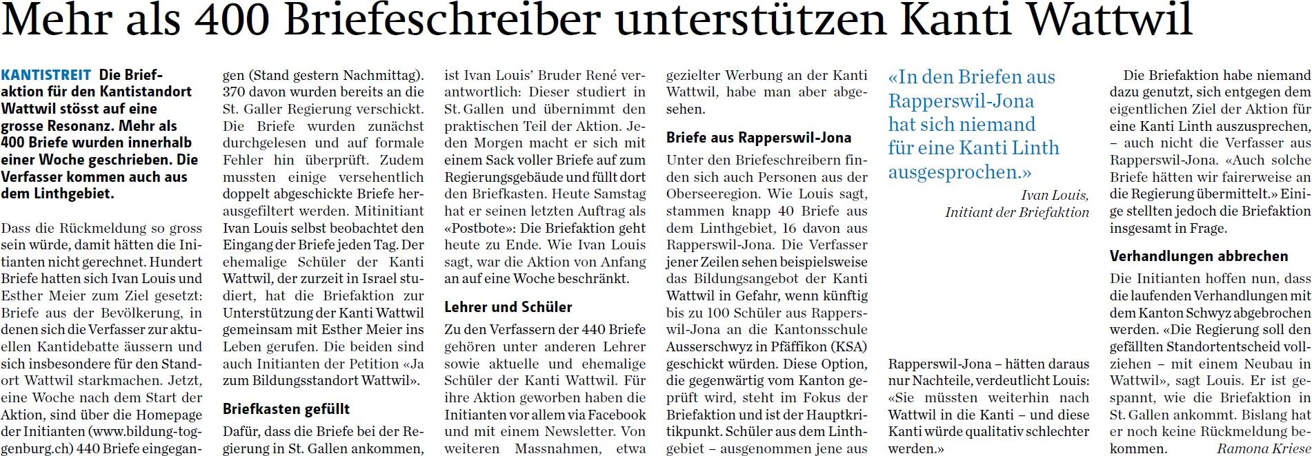 Mehr als 400 Briefeschreiber unterstützen Kanti Wattwil (Samstag, 11.10.2014)