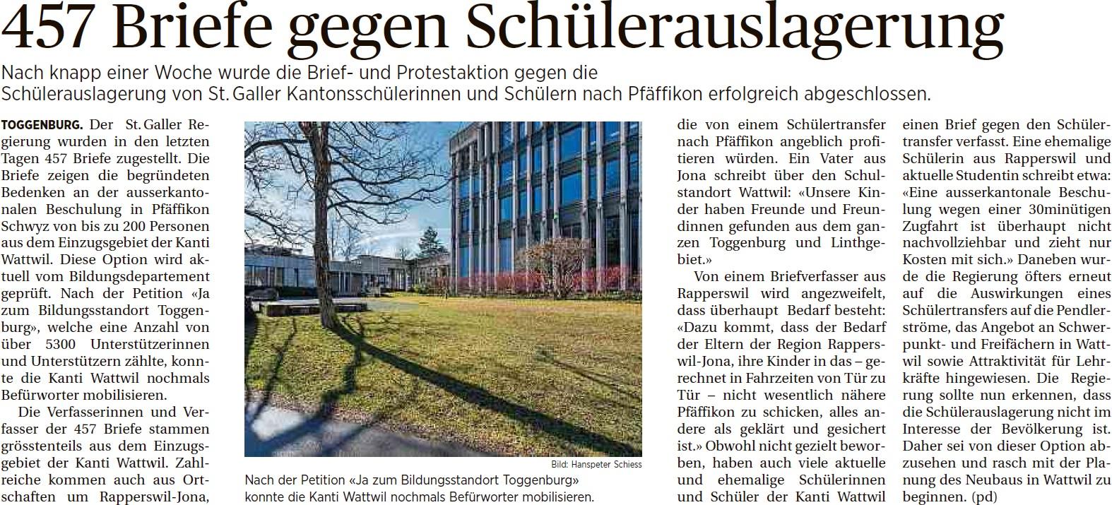 457 Briefe gegen Schülerauslagerung (Dienstag, 14.10.2014)