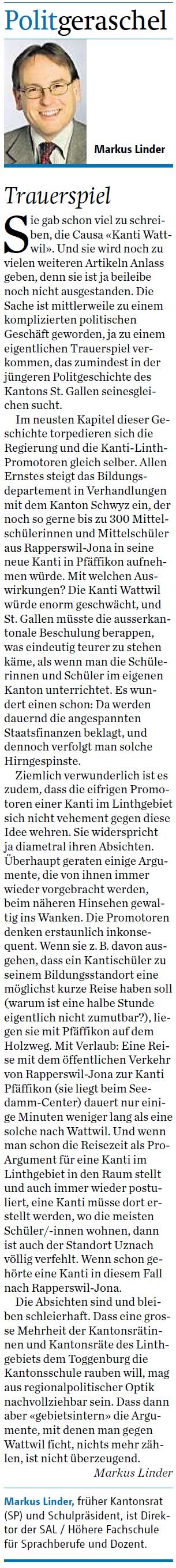 Politgeraschel: Kanti-Trauerspiel (Samstag, 18.10.2014)