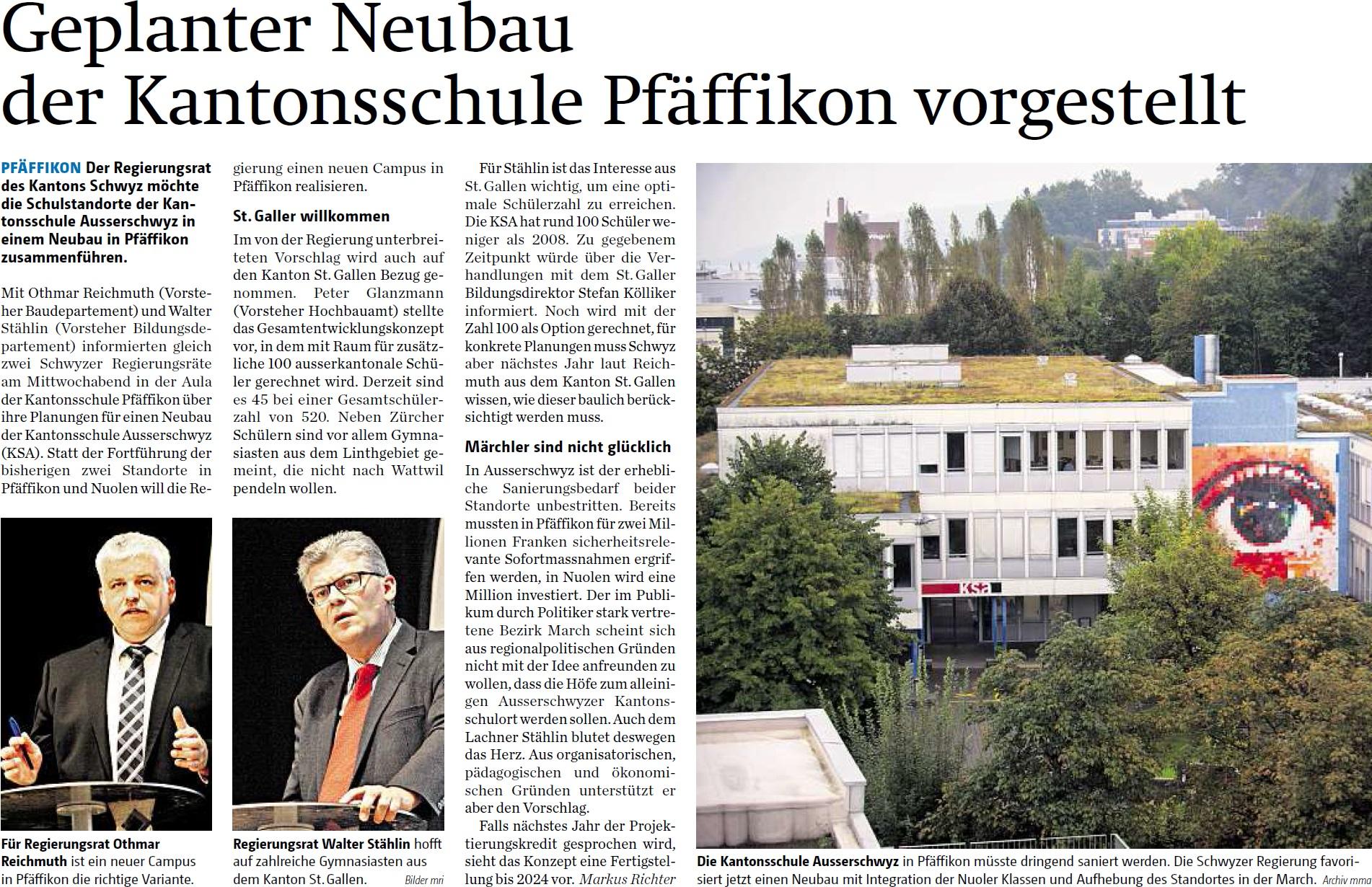 Geplanter Neubau der Kantonsschule Pfäffikon vorgestellt (Freitag, 24.10.2014)