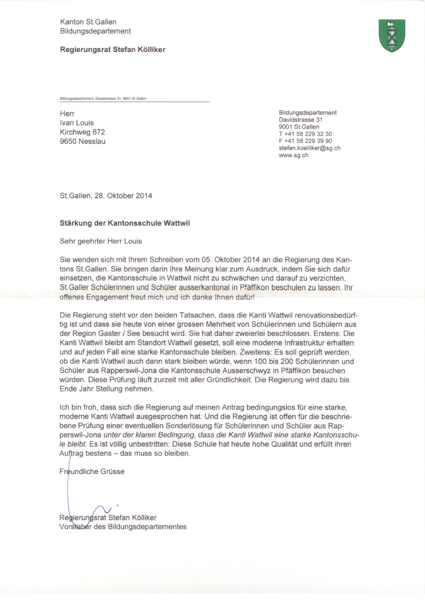 Antwort zur Briefaktion von Regierungsrat Stefan Kölliker (Donnerstag, 30.10.2014)