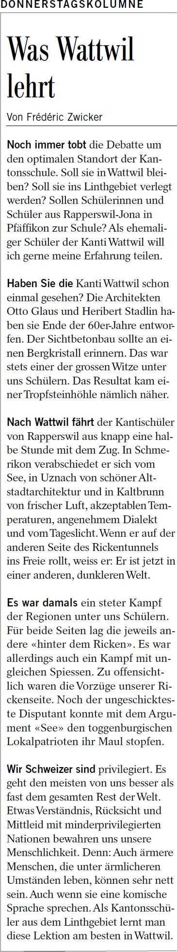 Donnerstagskolumne: Was Wattwil lehrt (Donnerstag, 30.10.2014)