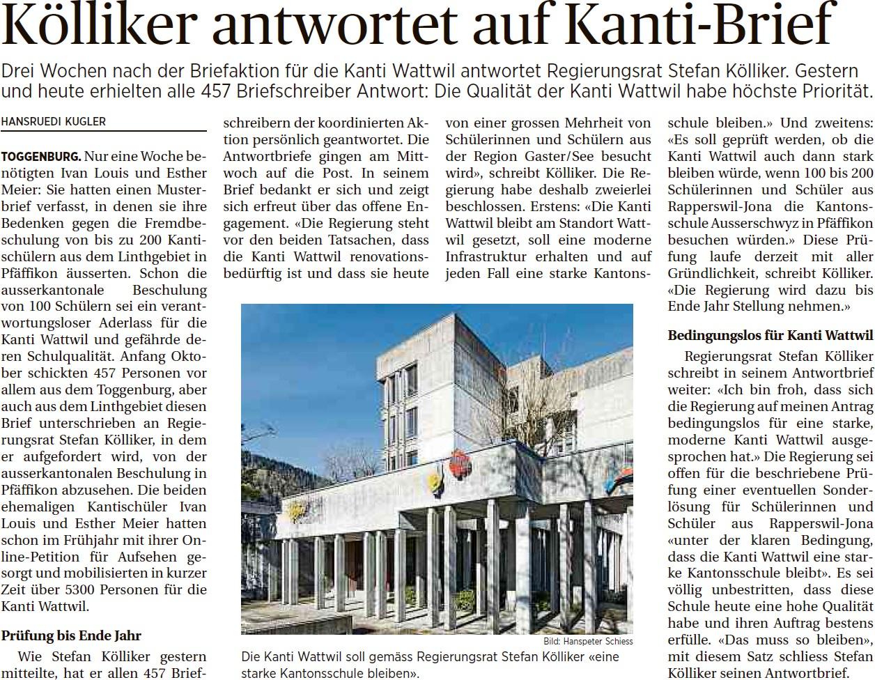Kölliker antwortet auf Kanti-Brief (Freitag, 31.10.2014)
