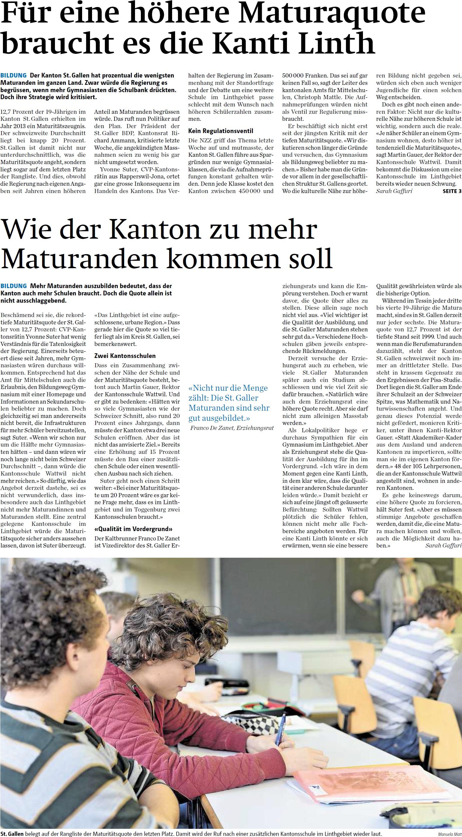 Für eine höhere Maturaquote braucht es die Kanti Linth (Dienstag, 04.11.2014)