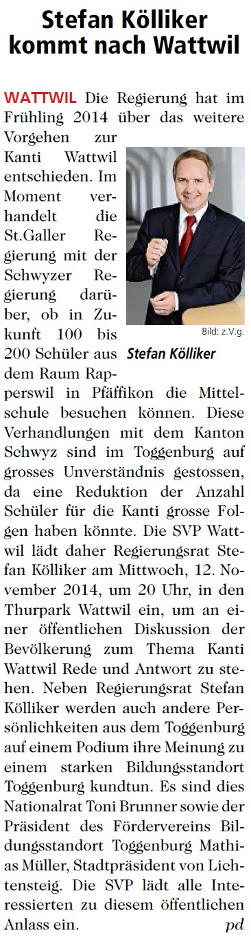 Stefan Kölliker kommt nach Wattwil (Mittwoch, 05.11.2014)