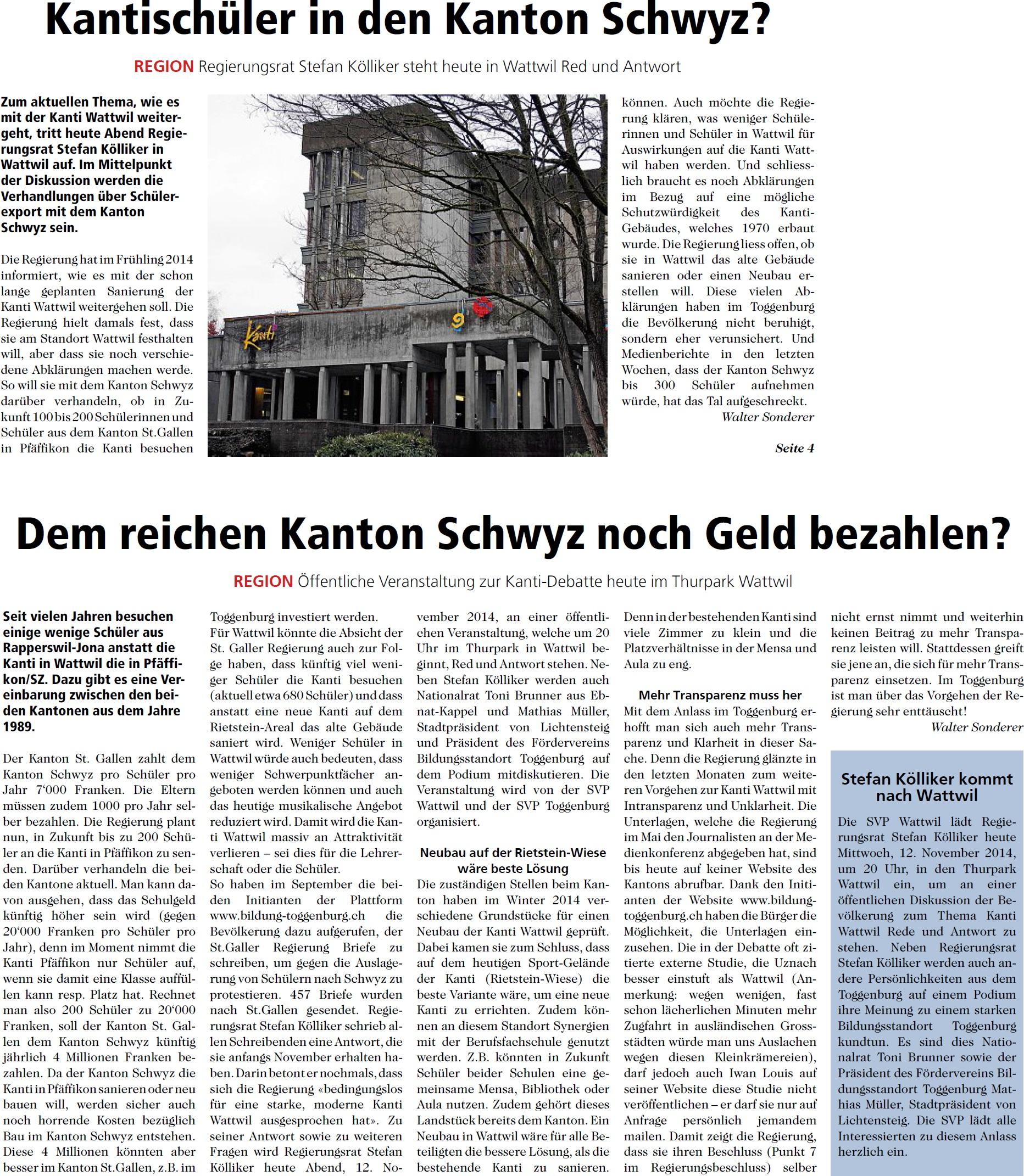 Kantischüler in den Kanton Schwyz? (Mittwoch, 12.11.2014)